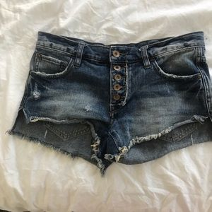 Free people denim jean button up shorts